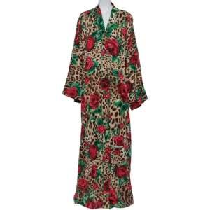 Dolce & Gabbana Animal & Rose Printed Silk Abaya L