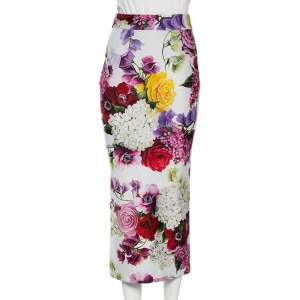Dolce & Gabbana Multicolored Floral Print Jersey Pencil Skirt S