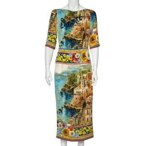 Dolce & Gabbana Printed Silk Sorrento Embellished Charmeuse Dress M