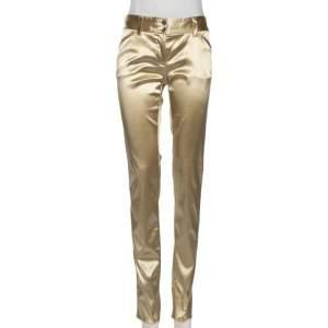 Dolce & Gabbana Gold Satin Contrast Trim Pants S