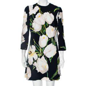 Dolce & Gabbana Black Printed Crepe Bodycon Dress L