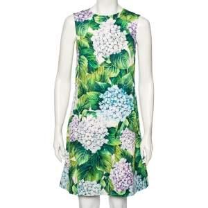 فستان دولتشي أند غابانا تصميم حرف ايه طباعة هايدرانغيا قطن متعدد الألوان مقاس صغير