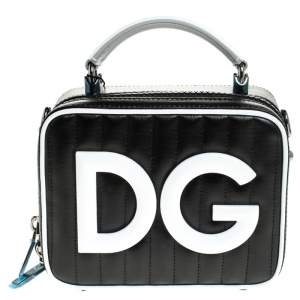 Dolce & Gabbana Black/White Coated Canvas DG Girls Crossbody Bag