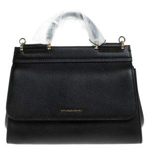 Dolce & Gabbana Black Leather Soft Miss Sicily Top Handle Bag