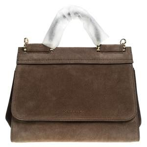 Dolce & Gabbana Brown Suede Soft Medium Miss Sicily Top Handle Bag