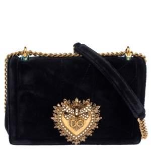Dolce & Gabbana Black Matelasse Velvet Devotion Chain Shoulder Bag