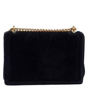 Dolce & Gabbana Black Matelasse Velvet Devotion Chain Shoulder Bag