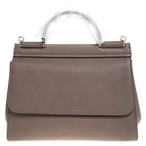 Dolce & Gabbana Dark Beige Leather Large Miss Sicily Top Handle Bag