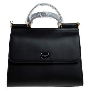 Dolce & Gabbana Black Leather Sicily 58 Top Handle Bag