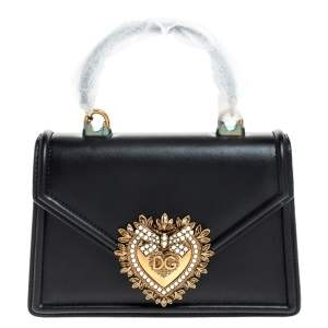 Dolce & Gabbana Black Leather Small Devotion Top Handle Bag