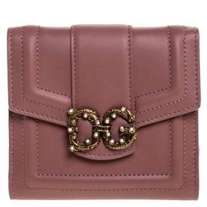 Dolce & Gabbana Old Rose Leather DG Amore Compact Wallet