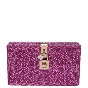 Dolce & Gabbana Pink Crystal Embellished Satin Box Bag