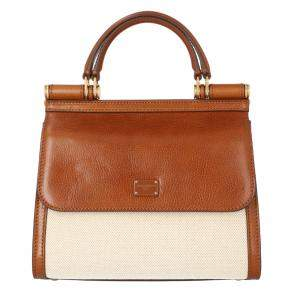 Dolce & Gabbana Beige/ Tan Leather and Fabric Sicily Shoulder Bag