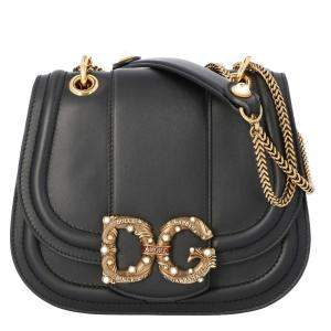 Dolce & Gabbana Black Leather DG Amore Bag