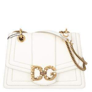 Dolce & Gabbana White Leather DG Amore Bag