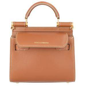 Dolce & Gabbana Tan Leather Mini Sicily Shoulder Bag