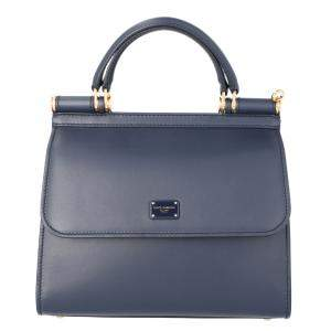 Dolce & Gabbana Dark Blue Leather Sicily Shoulder Bag