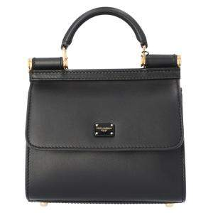 Dolce & Gabbana Black Leather Mini Sicily Shoulder Bag