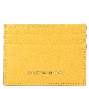 Dolce & Gabbana Yellow Leather Card Case