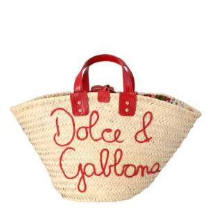 Dolce & Gabbana Beige Straw Kendra Shopper Tote