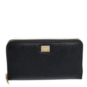 Dolce & Gabbana Black Leather Zip Around Wallet