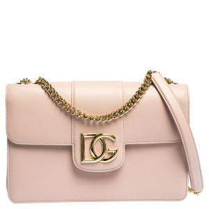 Dolce & Gabbana Pale Pink Leather DG Millennials Shoulder Bag