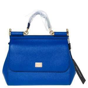 Dolce & Gabbana Blue Leather Medium Miss Sicily Bag