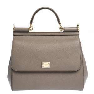 Dolce & Gabbana Grey Leather Miss Sicily Bag