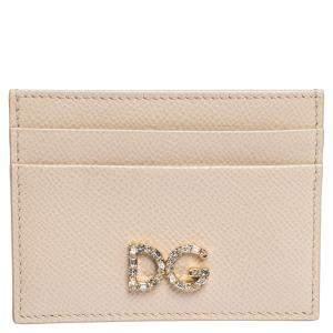 Dolce & Gabbana Beige Leather DG Crystal Logo Card Holder