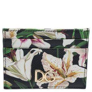 Dolce & Gabbana Multicolor Floral Print Leather Card Holder