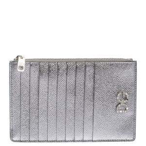 Dolce & Gabbana Silver Leather Crystal Embellished Logo Zipped Card Holder