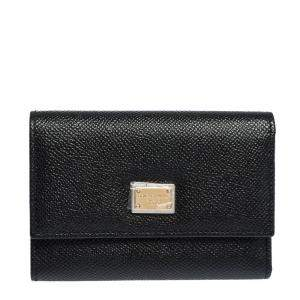 Dolce & Gabbana Black Leather Trifold Wallet