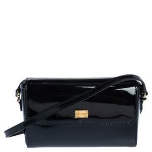 Dolce & Gabbana Black Patent Leather Flap Crossbody Bag