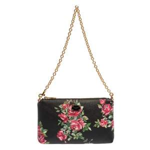 Dolce & Gabbana Multicolor Floral Print Leather Chain Clutch