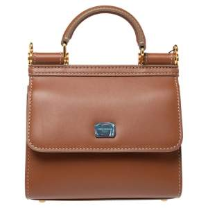 Dolce & Gabbana Tan Leather Micro Sicily 58 Top Handle Bag