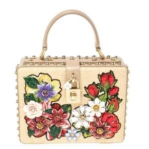 Dolce & Gabbana Beige Embroidered Raffia and Leather Crystal Embellished Box Top Handle Bag