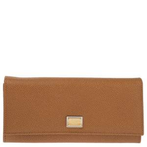 Dolce & Gabbana Tan Leather Dauphine Continental Wallet