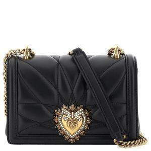 Dolce & Gabbana Black Leather Devotion Mini Shoulder Bag