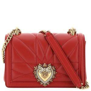Dolce & Gabbana Red Leather Devotion Mini Shoulder Bag
