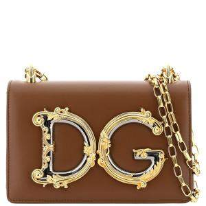 Dolce & Gabbana Brown Leather Shoulder Bag