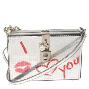 Dolce & Gabbana Metallic Silver Patent Leather I Love You Box Clutch