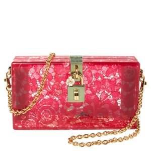 Dolce & Gabbana Red Acrylic Lace Dolce Box Bag