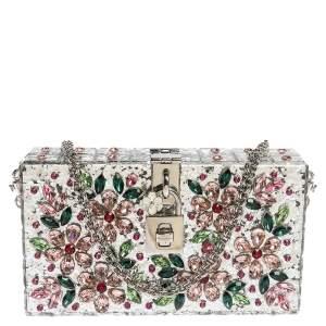 Dolce & Gabbana Silver Acrylic Crystal Embellished Box Locket Clutch Bag