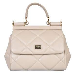 Dolce & Gabbana Beige Quilted Leather Sicily Shoulder Bag