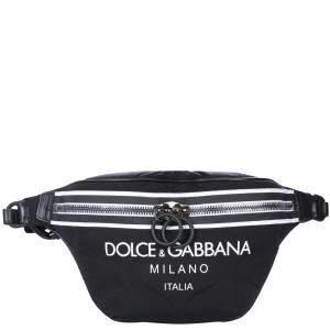 Dolce & Gabbana Black Nylon Logo Belt Bag