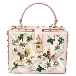 Dolce & Gabbana Pink Lily Print Leather Crystal Embellished Dolce Box Top Handle Bag