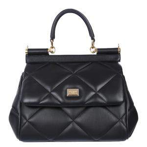 Dolce & Gabbana Black Leather Small Sicily Bag