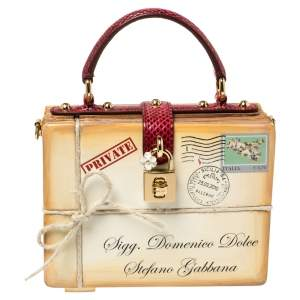 Dolce & Gabbana Beige/Maroon Wood and Python Postage Box Dolce Box Bag
