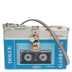 Dolce & Gabbana Blue/Silver Wood Walkman Box Clutch