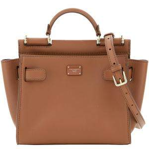 Dolce & Gabbana Brown Leather Small Sicily 62 Tote